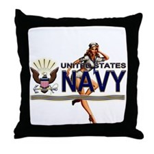 USN Navy Pin Up Babe Throw Pillow