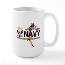 USN Navy Pin Up Babe Mug