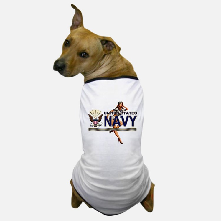 USN Navy Pin Up Babe Dog T-Shirt