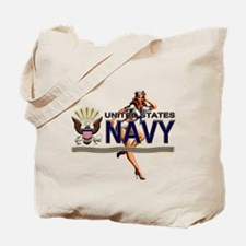 USN Navy Pin Up Babe Tote Bag