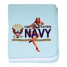 USN Navy Pin Up Babe baby blanket