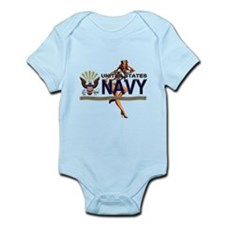 USN Navy Pin Up Babe Infant Bodysuit