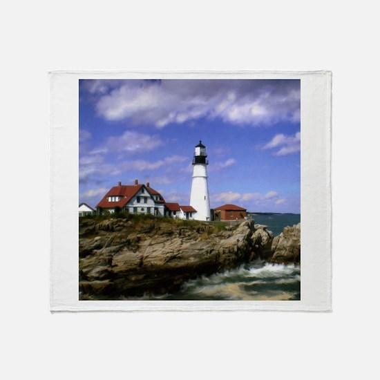 Maine Lighthouse Throw Blanket