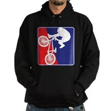 BMX Rider in Red White and Bl Hoodie