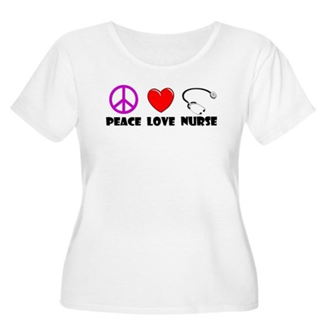 Peace Love Nurse Women's Plus Size Scoop Neck T-Sh