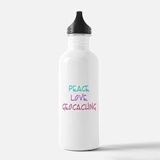 Peace Love Geocaching Water Bottle