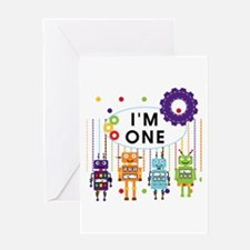 Robot First Birthday Greeting Card