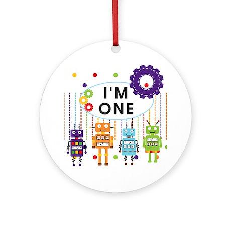 Robot First Birthday Ornament (Round)