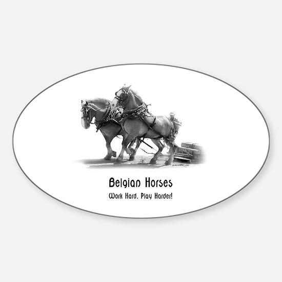 Belgian Horse Sticker (Oval)