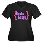 Cache Happy Women's Plus Size V-Neck Dark T-Shirt