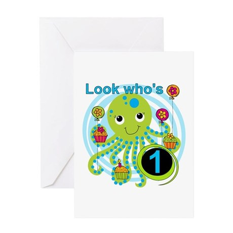 Octopus 1st Birthday Greeting Card