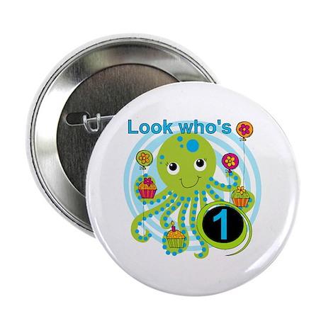 """Octopus 1st Birthday 2.25"""" Button"""