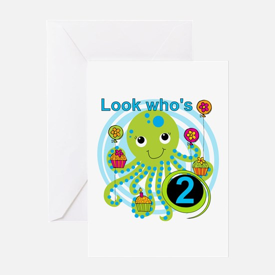 Octopus 2nd Birthday Greeting Card
