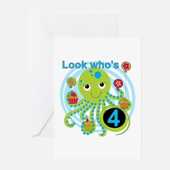 Octopus 4th Birthday Greeting Card