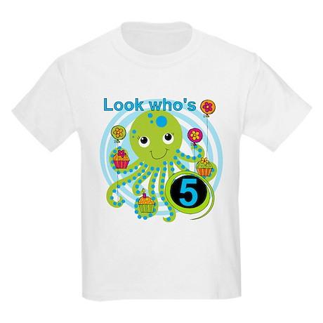 Octopus 5th Birthday Kids Light T-Shirt