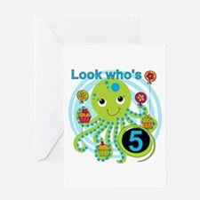 Octopus 5th Birthday Greeting Card