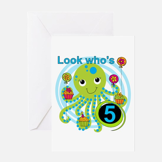 Octopus 5th Birthday Greeting Card