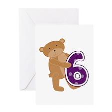 Bear 6th Birthday Greeting Card