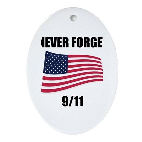 Never Forget 9/11 Oval Ornament