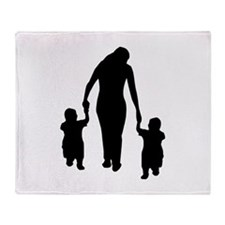 Mother and Children Throw Blanket