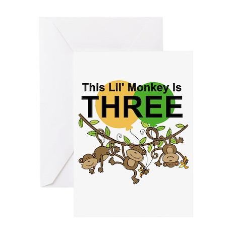 Swinging Monkeys 3rd Birthday Greeting Card