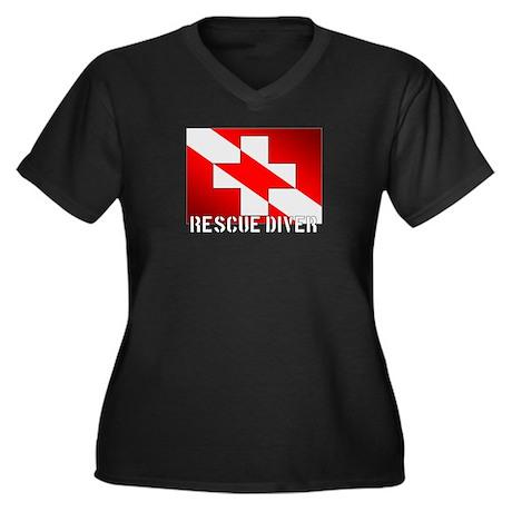 Rescue Diver Women's Plus Size V-Neck Dark T-Shirt