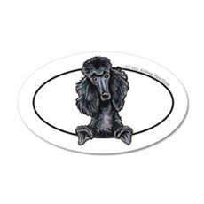 Funny Black Poodle 22x14 Oval Wall Peel