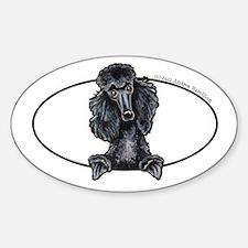 Funny Black Poodle Sticker (Oval 10 pk)