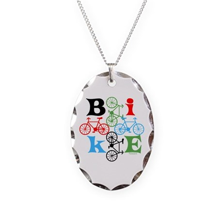 Four Bikes Necklace Oval Charm