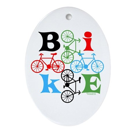 Four Bikes Ornament (Oval)
