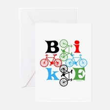 Four Bikes Greeting Cards (Pk of 10)