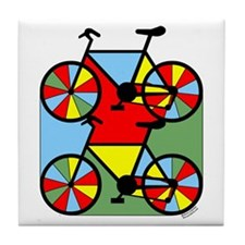 Colorful Bikes Tile Coaster