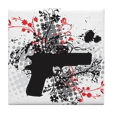 Black Floral Tile Coaster