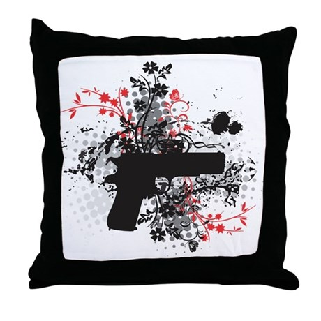 Black Flower Throw Pillow : Black Floral Throw Pillow by GirlzwithGunz