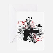 Black Floral Greeting Card