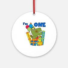 Little Dino 1st Birthday Ornament (Round)