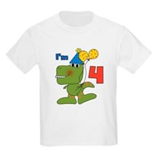Little Dino 4th Birthday T-Shirt