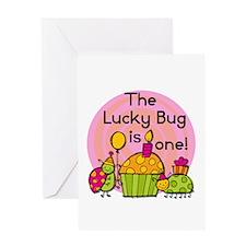 Cupcake Ladybug 1st Birthday Greeting Card