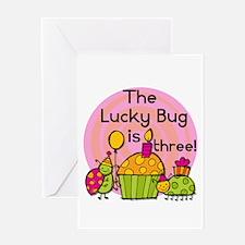 Cupcake Ladybug 3rd Birthday Greeting Card