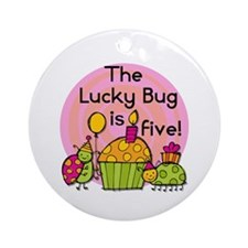 Cupcake Ladybug 5th Birthday Ornament (Round)