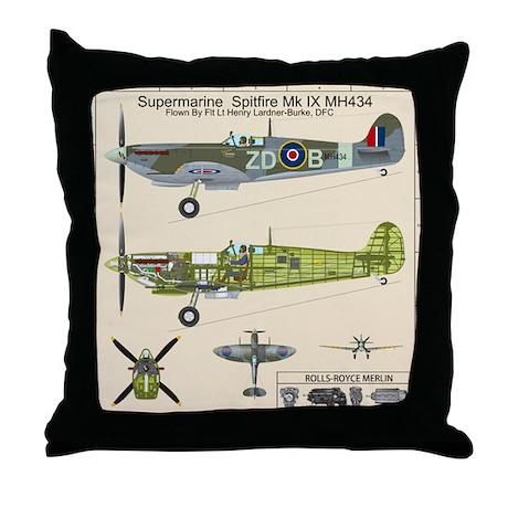 Spitfire Cutaway Blueprint Throw Pillow