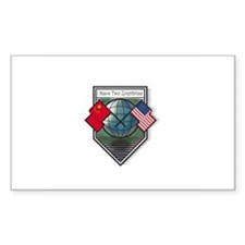 China and U.S.A. Flags Rectangle Decal