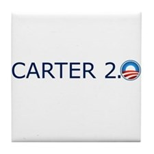 Carter 2.0 Blue Text Tile Coaster