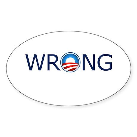 Wrong Blue Text Sticker (Oval 10 pk)