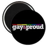"""Gay&proud Black 2.25"""" Magnet (100 pack)"""