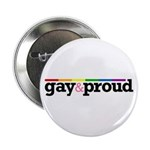"Gay&proud White 2.25"" Button (100 pack)"
