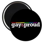 """Gay&proud Black 2.25"""" Magnet (10 pack)"""
