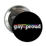 "Gay&proud Black 2.25"" Button (10 pack)"