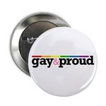 Gay&proud White Button