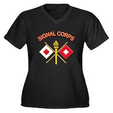 Signal Corps Women's Plus Size V-Neck Dark T-Shirt